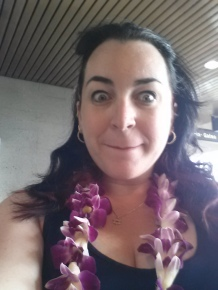 "Just got lei'd at the airport...OMG I""M REALLY HERE!!!"
